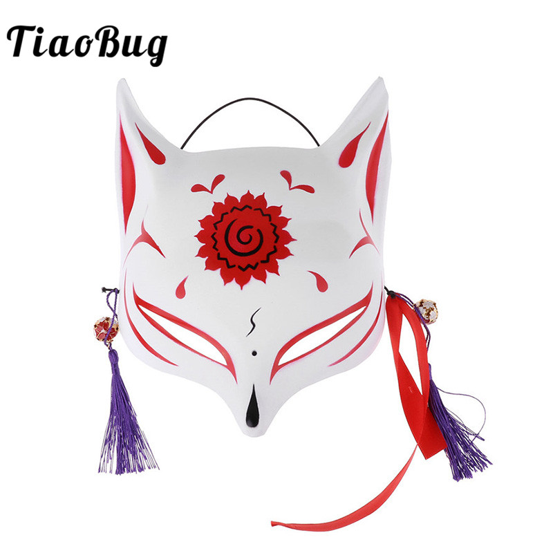 TiaoBug Hand-painted Japanese Half Face PVC Fox Mask with Tassels Small Bells Masquerade Kabuki Kitsune Anime Cosplay Costume