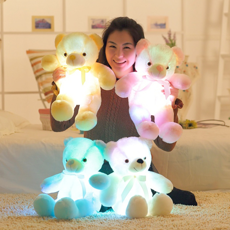 Lovely Soft Puppy Snoopy Dog Shape Colorful LED Light Doll Toy Stuffed Animals