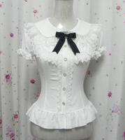 palace sweet lolita shirt peter pan collar vintage lace victorian dress puff sleeve slim gothic lolita top princess loli cosplay