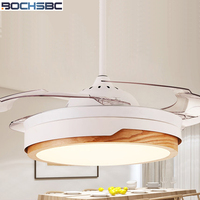 BOCHSBC Invisible Fan Light Living Room Dining Room Bedroom Decoration Ceiling Fan Light Modern Minimalist Wood LED Fan Lights