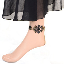 Vintage Gothic Lolita Charm Black Lace Foot Jewelry Barefoot Anklets Z8T6