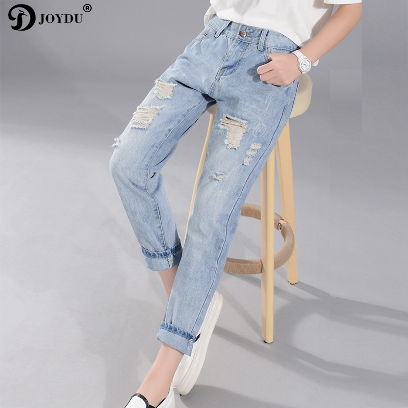 JOYDU Hole Ripped Jeans For Women Washed Blue Streetwear Plus Size Denim Boyfriend Edging Cool Vintage Retro Jeans Female 2017 joydu hole ripped jeans for women washed blue streetwear plus size denim boyfriend edging cool vintage retro jeans female 2017