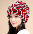 High fashion Women winter Big string Design Genuine rex rabbit Fur hats and caps warm thermal winter hats