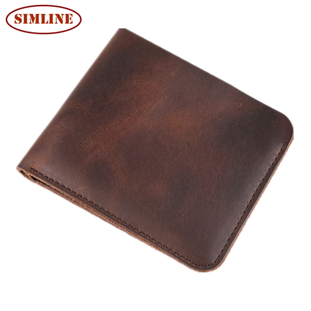 Vintage Retro Top Quality Natural Genuine Leather Men Wallets Fashion Splice Dollar Purse Carteira Masculina Mens Purse Wallet