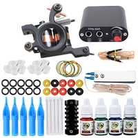 NEW Complete Tattoo Machine Kit Set 1 Coils 4 Colors Black Pigment Sets Power Tattoo Beginner Grips Kits Permanent Makeup