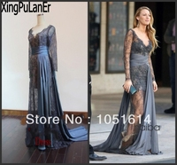 Blake Lively Gossip Girl Zuhair Murad Grey Lace See Through Transparent Floor Length Celebrity Dress