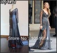Blake Lively Gossip Girl Zuhair Murad Grey Lace See Through Transparent Floor Length Celebrity Dress