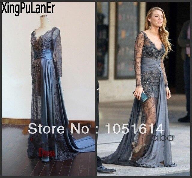 Blake vif ragot fille gris dentelle voir à travers Transparent longueur de plancher réel échantillon robes de célébrité dentelle robes de soirée
