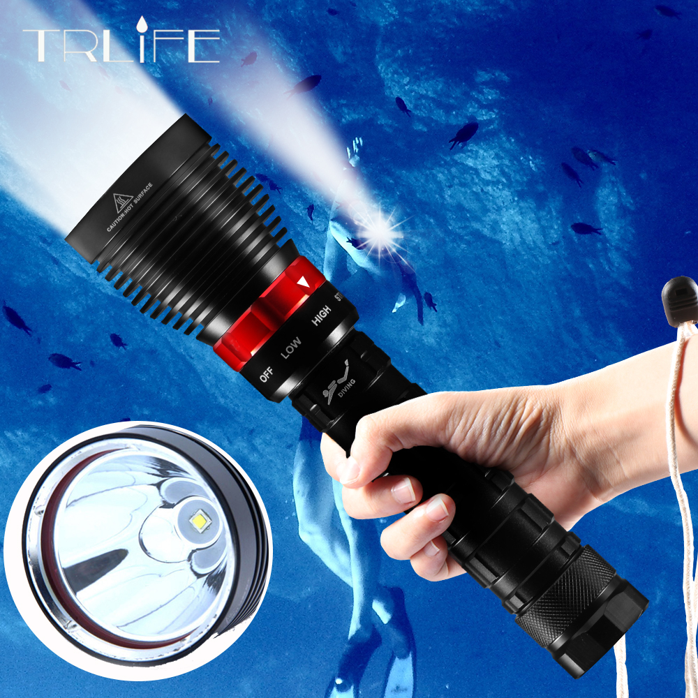 Dive Light 40000LM IP8 Underwater Lighting L2 Diving Led Flashlight Torch Lanterns Use 2*26650 Battery Spearfishing Diving Lamp