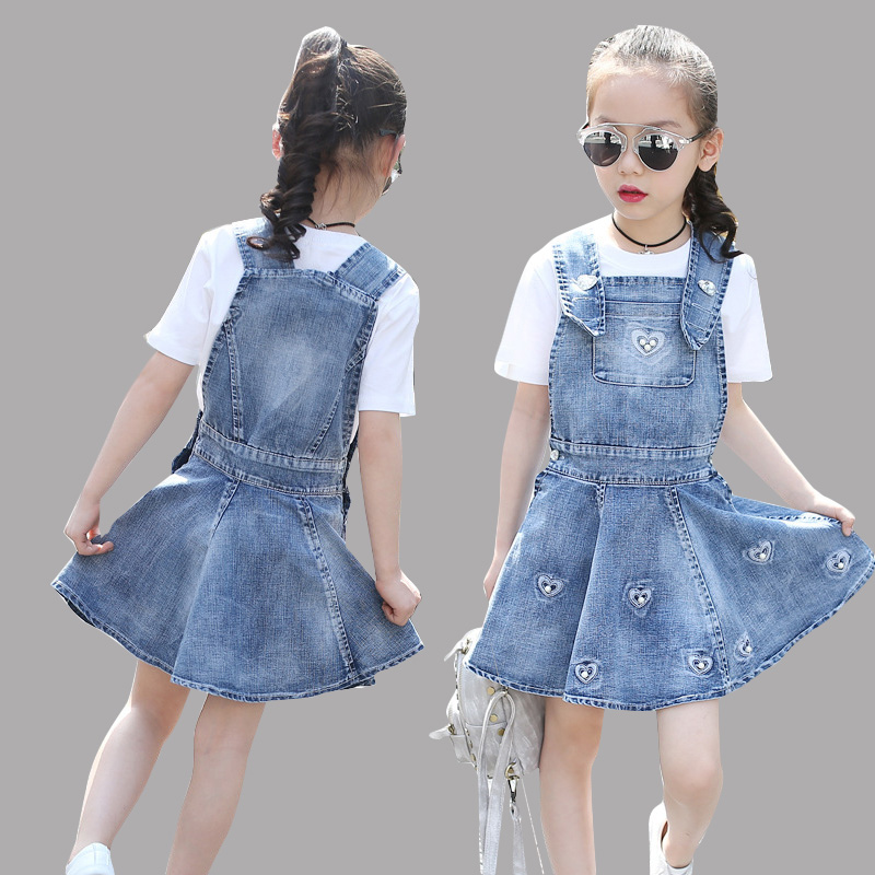 Girls Clothing Sets Cotton Kids Clothes Sets For Girls Short Sleeve Solid T Shirt & Denim Skirt 2PCS Suits 8 10 12 Years Outfits цены онлайн