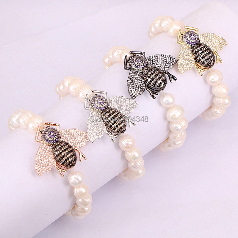 5 Strand ZYZ182 8512 High Quality Natural Fresh Water Pearl Beads with Paved CZ Insect Charm