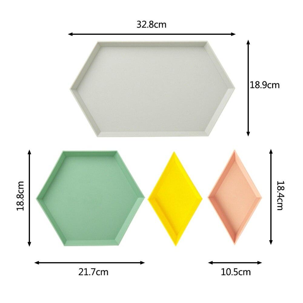 4PCS/Set Innovative Color Geometric Storage Tray Removable Fruit Plastic Combination Desktop Storage Tray Detachable Fruit Plate