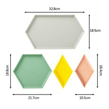4PCS/Set Innovative Color Geometric Storage Tray Removable Fruit Plastic Combination Desktop Detachable Plate