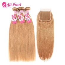 AliPearl Hair Blonde Human Hair Bundles With Closure #27 Brazilian Straight Hair Weave 3 Bundles 10-24inch Remy Hair Extensions(China)