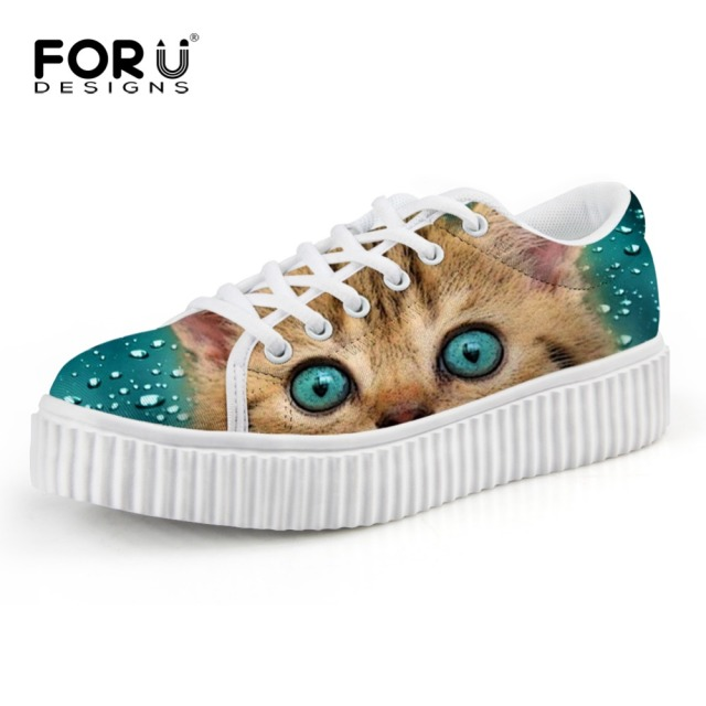 Women Flats Zapatillas Cat Pattern Platform Shoes