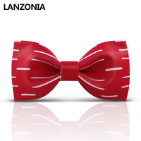Lanzonia Women Designer Red Bow Tie For Men Wedding Party Groomsmen Business Bowtie Male Trendy Solid Color Neckwear