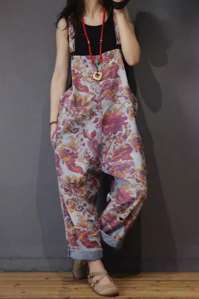 Summer Jumpsuits Women Large size Denim Rompers New Ladies Retro Loose Print flower Jumpsuits 2018 Casual
