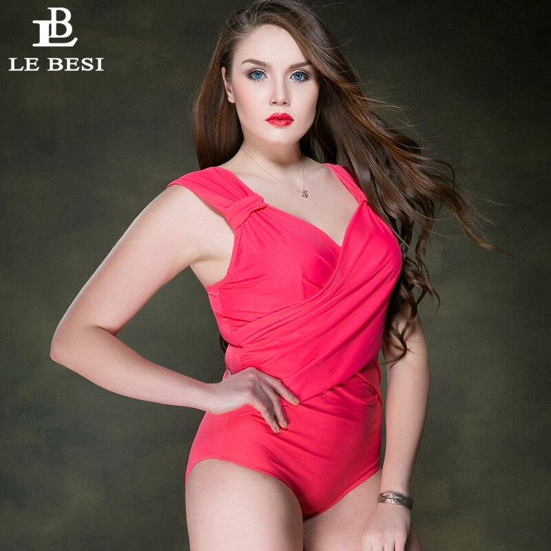 LEBESI 2017 New Plus Size Women One Piece Swimsuit Push Up Womens Swimwear Vintage Bathingsuit Bandage Bodysuit Monokini
