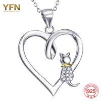 YAFEINI 925 Ayar Gümüş Takı Küçük Kedi Aşk Kalp Kolye Kolye Moda Kadınlar Için GNX10304 Ekleyin