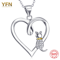 YFN 925 Sterling Silver Jewelry Small Cat Add Love Heart Necklace Pendant For Fashion Women GNX10304