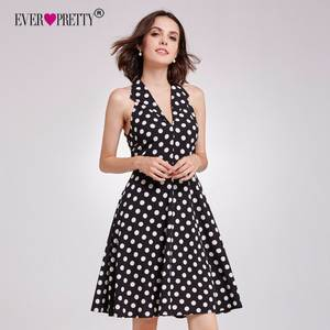 50948452d323 Ever Pretty 2018 New Summer Vintage Short Cocktail Dresses Sexy A Line V  Neck Off Shoulder Polka Dot Printed Party Gowns AS05933