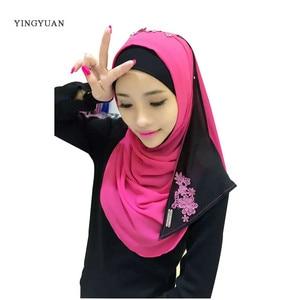 Image 2 - Hijab en mousseline de soie pour femmes musulmanes, foulard à capuche, Bandanas, casquette, châle, Abaya, couvre chef arabe islamique (sans sous vêtements)