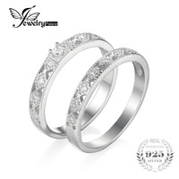 JewelryPalace Two Stack 0 11ct Cubic Zirconia Cocktail Band Eternity Ring 925 Sterling Silver Best Gift