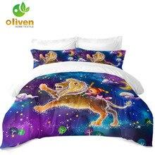 Купить с кэшбэком Kids Dreamlike Cartoon Bedding Colorful Leo Constellation Duvet Cover Set Girls Galaxy Print Bedding Pillowcase Home Decor D49