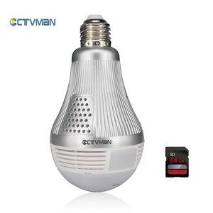CTVMAN 3mp 360 панорамная лампа, светодиодная лампа, камера, Wi-Fi, 64 ГБ, tf-карта, рыбий глаз, полный обзор, мини-камера видеонаблюдения