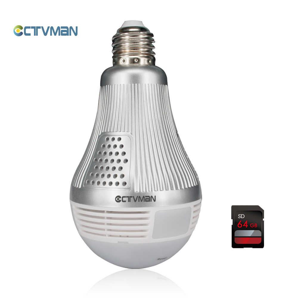 CTVMAN 3mp 360 панорамный ламповый светильник, светодиодная лампа, камера с Wifi, 64 ГБ, TF карта, рыбий глаз, полный вид, видеонаблюдение, CCTV, безопасность, мини-камера