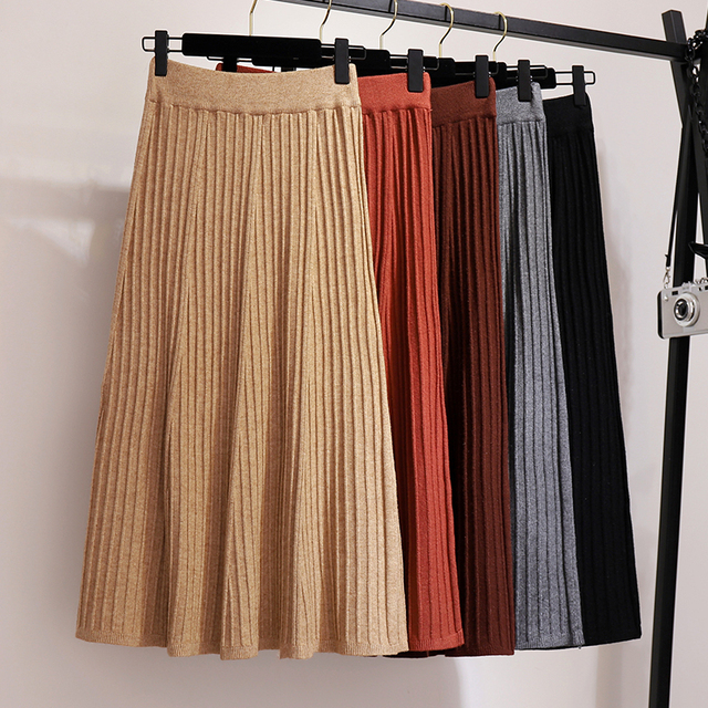 2018 Winter Warm Women Knitting Skirt Lady High Waist Knitted Hip Step Package Mid-calf Solid Pleated Skirt Streetwear