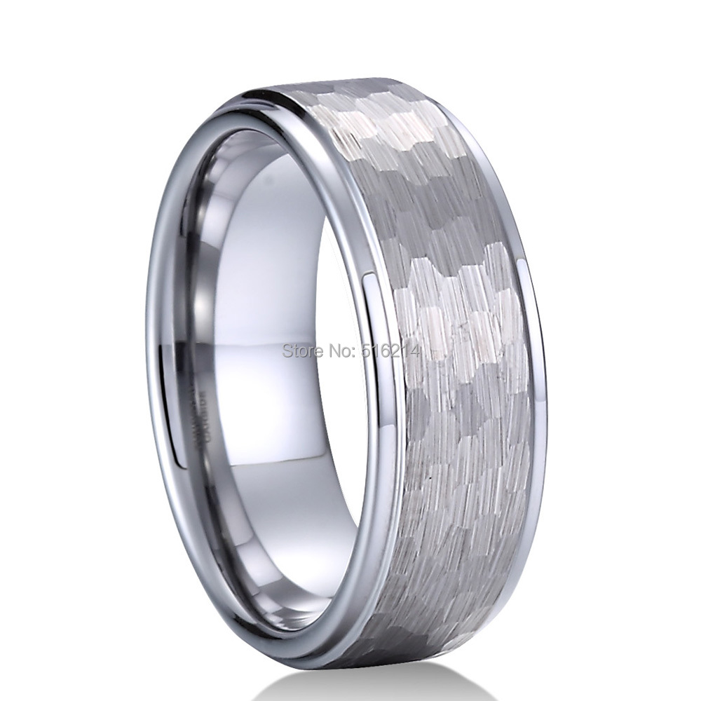 9 Size Tungsten Carbide Domed Faceted Ring Stepped Edge 8mm Wedding Band Ring