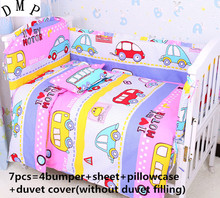 Promotion! 6/7PCS Cartoon bed tent crib bedding set piece baby bedding bed around,120*60/120*70cm
