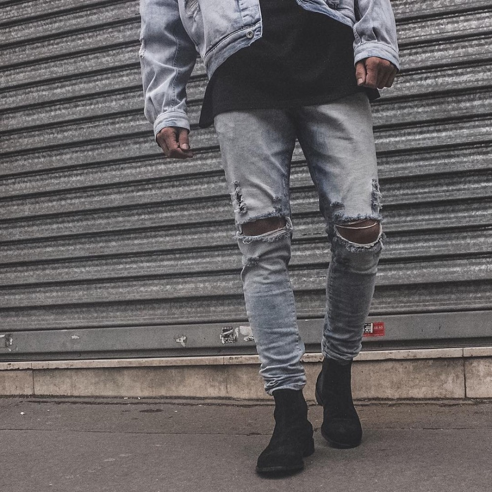 new hip hop high quality sexy pants korean mens jogger clothes fashion denim jumpsuit skinny destroyed