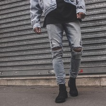 new hip hop high quality sexy pants korean mens jogger clothes fashion denim jumpsuit  skinny destroyed ripped distressed jeans