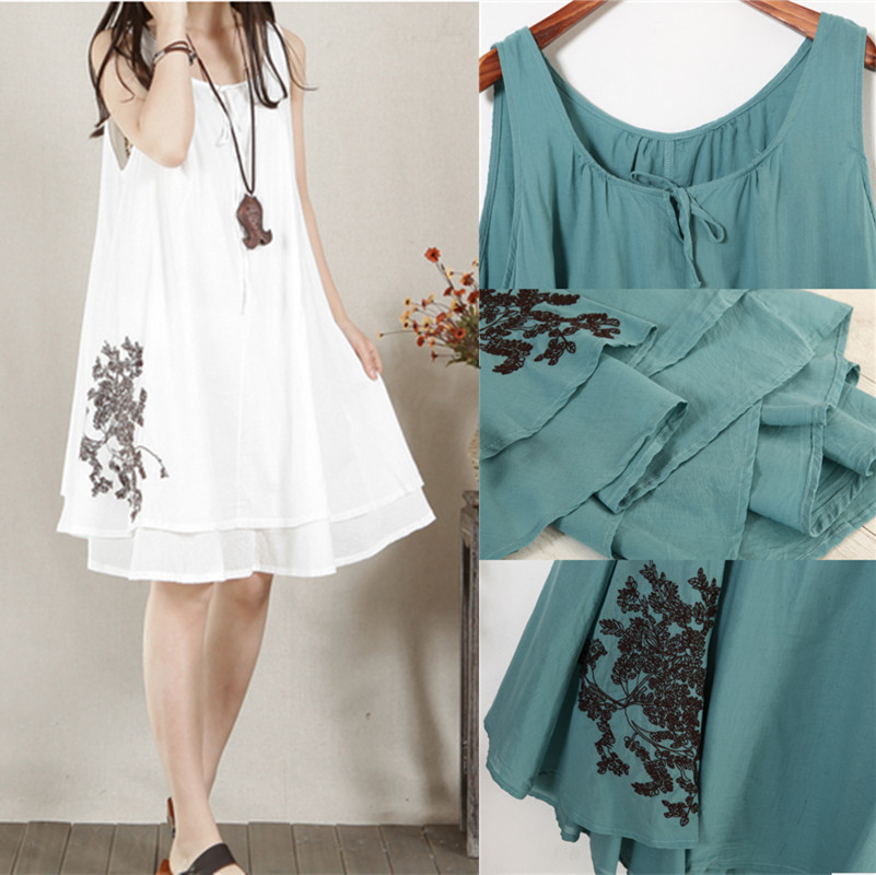 Loose Sling Linen Maternity Dress Comfortable Clothes for Pregnant Women Summer Tank Clothing for Pregnancy 2015 Fashion A4006