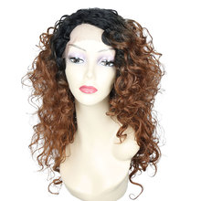 18Inch Lace Front Wig Ombre Medium Synthetic Wigs For Black Women Eunice 613 Brown High Temperature Cosplay