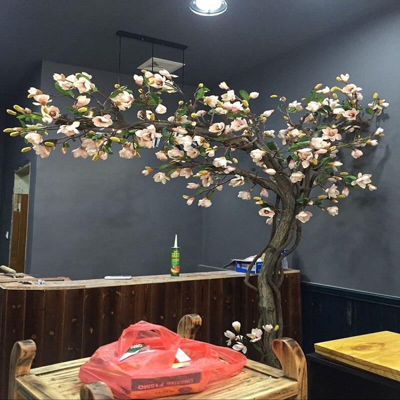Arbre artificiel Magnolia arbre fenetre dressing intérieur salon plantes vertes modelage du bonsaï le sol fleurs artificielles