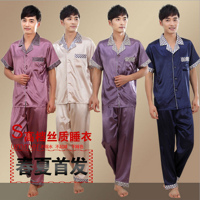 aliexpress com beli pria ruang tidur sutra satin pajama set untuk pria pakaian kemeja malam gaun dari handal top box channels