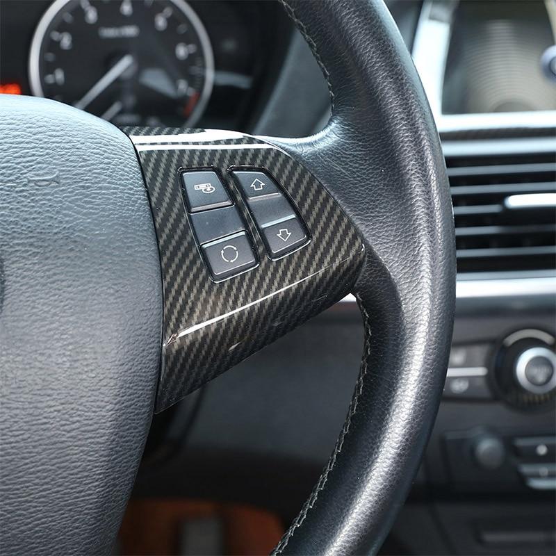 Steering Wheel Button Trim 2pcs Carbon Fiber Steering Wheel Button Frame Decoration Cover Trim Sticker Decor for X5 E70 2008-2013