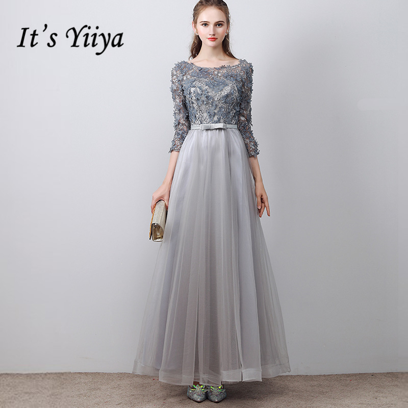 It's YiiYa 2018 New Fashion Designer   Prom   Gown Simple Lace Up Flower Pattern Bow   Prom     Dresses   Dancing Party LX203