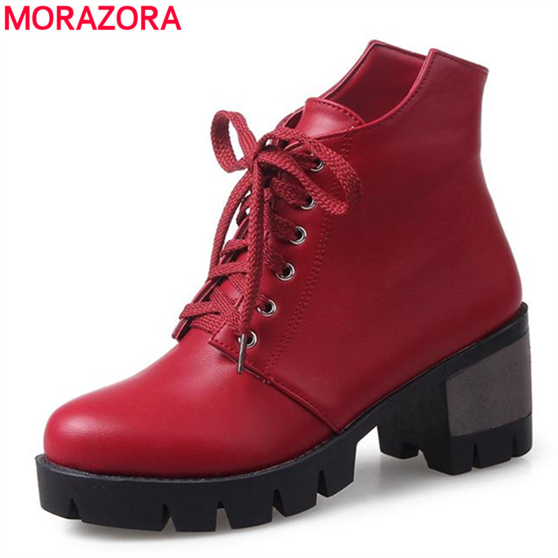 MORAZORA College style 2018 spring autumn ankle boots women shoes lace-up high heels boots large size 34-43 platform boots 2018 new fashion ankle boots autumn winter women boots high heels boots lace up women shoes large size 34 43