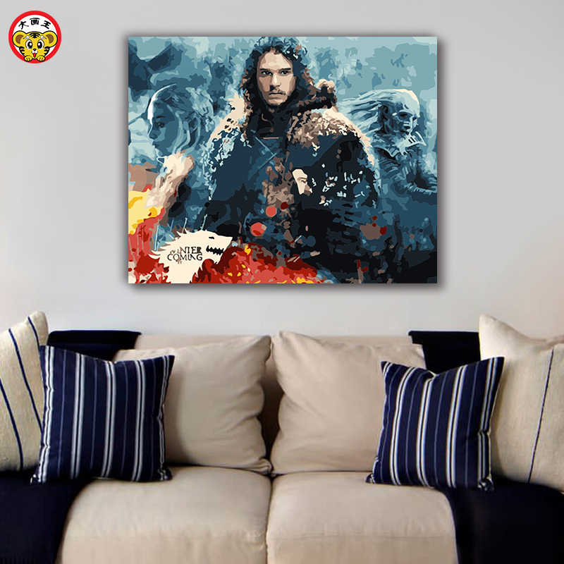 Game of Thrones Daenerys Targaryen Jon Snow Painting Paint By Numbers Kit DIY