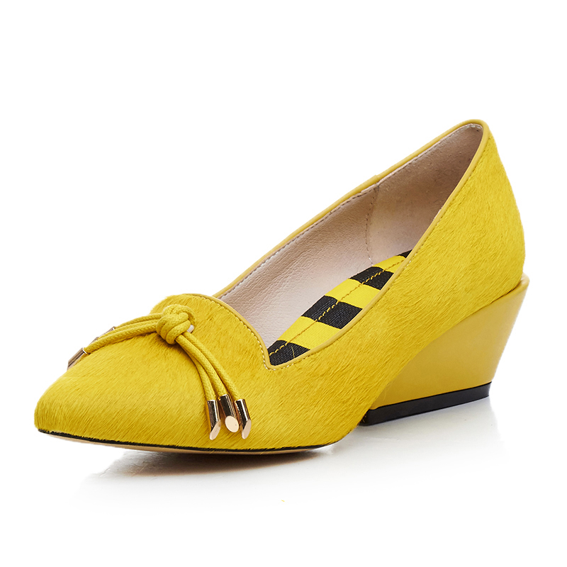 Yellow color Women Wedges 5 cm high heels shoes Ture photos Genuine leather Woman pumps Size 34-39 School shoe for young girls