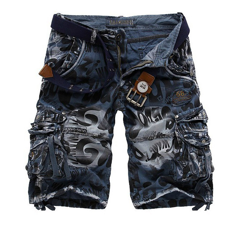 New 2017 Mens Casual Camouflage Shorts Men Loose Cargo Shorts Men Large Size 29-38 Multi-pocket Military Short homme
