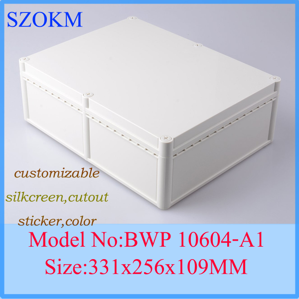 1 piece waterproof plastic enclosure  project case  electronics enclosure with power 331x256x109 mm 1 piece free shipping anodizing aluminium extruded enclosure for electronics with rubber ring 25x58x85mm