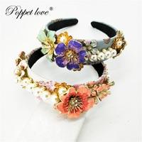 Big Queen Princess Crown Diadem blue pink big flower Gold Headdress Head pearl Tiara Bridal Wedding Hair Jewelry Accessories