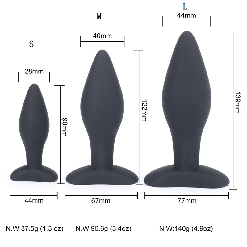 90/122/139CM Sexy Black Silicone Anal <font><b>Plug</b></font> Massage Adult <font><b>Sex</b></font> <font><b>Toys</b></font> For Women Man Gay Anal <font><b>But</b></font> <font><b>Plug</b></font> Set Butt <font><b>Plugs</b></font> <font><b>Sex</b></font> Products image