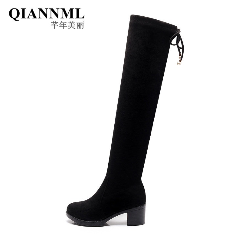 QianNML New Fashion 2018 Cassic Black Over The Knee Boots High Heels Shoes Snow Women Boots Winter Botas Large Size 42 43 9665