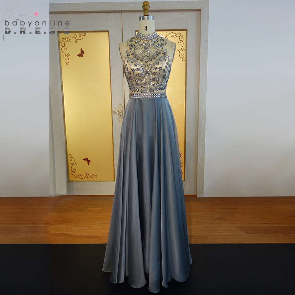 Sexy Open Back Beaded Crystals Gray   Prom     Dresses   Long Elegant High Neck Sleeveless Satin Evening Party   Dresses